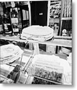 Patisserie Boulangerie With Local Catalan Speciality Pastries Wine Bread In Mont-louis Pyrenees-orie Metal Print by Joe Fox