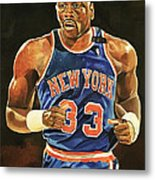 Patrick Ewing New York Knicks Metal Print by Michael  Pattison