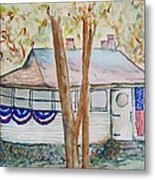 Patriotic Cottage Metal Print