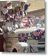 Patriotic Cowgirls Firetruck July 4th Parade Prescott Arizona 2002 Metal Print