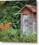 Patriotic Outhouse Metal Print