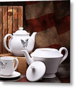 Patriotic Pottery Still Life Metal Print