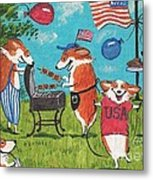 Patriotic Pups Metal Print