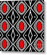 Pattern Geometric Black White Red Art No.391. Metal Print by Drinka Mercep