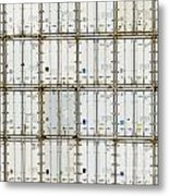 Pattern Of Shipping Container Stack At Depot Metal Print