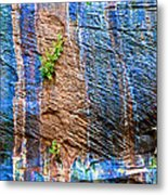 Pattern On Wet Canyon Wall From River Walk In Zion Canyon In Zion National Park-utah  Metal Print