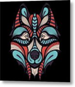 Patterned Colored Head Of The Wolf Metal Print