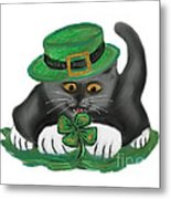Patty The Grey Kitten Loves Four Leaf Clovers Metal Print