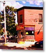 Paul Patate Pointe St Charles South West Montreal Autumn Street Scene Carole Spandau Metal Print