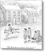 Paul Revere Rides Past Two Colonial Men Smoking Metal Print