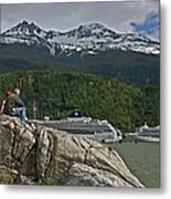 Pause In Wonder At Cruise Ships In Alaska Metal Print