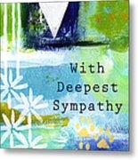 Paw Prints And Heart Sympathy Card Metal Print