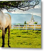 Payson Country Temple Oil Paint Texture Metal Print