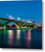 Peace Bridge And Buffalo Lights Metal Print
