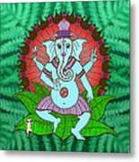 Peace Ganesh Dancing Metal Print