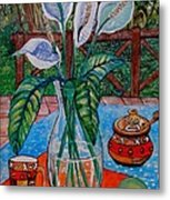 Peace Lilies On The Patio Metal Print