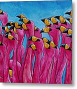 Peace Love And Flamingos Metal Print by Patti Schermerhorn