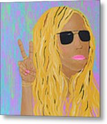 Peace Love And Pink Lipstick Metal Print