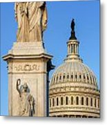 Peace Monument And Capitol Metal Print