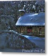 Peace On Earth Holiday Card Moonlight On Stone House.  Metal Print