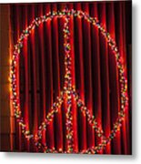 Peace Sign Christmas Lights Metal Print