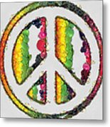 Peace Sign Fruits And Vegetables Metal Print