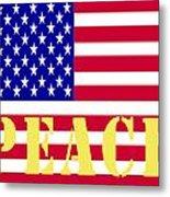 Peace The American Flag Metal Print