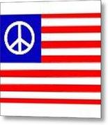 Peace Usa Flag Metal Print
