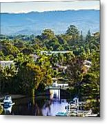 Peaceful Bay By The Mountains Metal Print