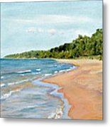 Peaceful Beach At Pier Cove Metal Print