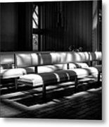 Peaceful Benches Metal Print by Joan Carroll