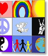 peaceloveunity Mosaic Metal Print