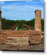 Peach Orchard And Ruins Metal Print