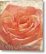 Peach Rose Anniversary Card Metal Print