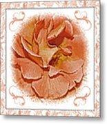 Peach Rose Sqrare Digital Paint Metal Print