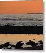 Peach Sunset On The Beach Metal Print