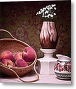 Peaches And Cream Sill Life Metal Print by Tom Mc Nemar