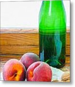 Peaches And Walnuts With Bottle Metal Print