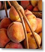 Peaches In Wicker Basket Metal Print