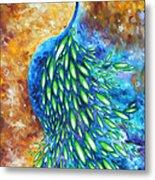 Peacock Abstract Bird Original Painting In Bloom By Madart Metal Print