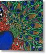 Peacock And Poppies Metal Print