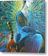 Peacock Angel And Cat Metal Print