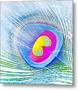 Peacock Feather Neon Metal Print