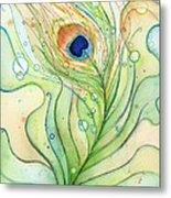 Peacock Feather Watercolor Metal Print