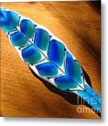 Peacock Fused Glass Leaf Metal Print