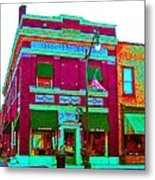 Peacock On Third Through Rose Colored Glasses Metal Print