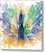 Peacock Splash Metal Print