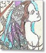 Peacock Woman 2 Metal Print