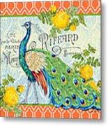Peacocks In The Rose Garden-3 Metal Print