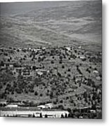 Peaks View From Prescott Black And White Metal Print